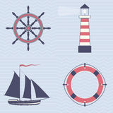 Sign of sea profession. Vector signs of a ship lifwbuoy helm and lighthouse Stock Photo