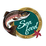 The sign for the seafood restaurant. Vector sign for restaurant Seafood with pink salmon Royalty Free Stock Image