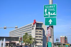 Sign of Seaway Trail in Buffalo, New York, USA Stock Images