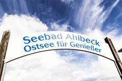 Sign Seebad Ahlbeck at the pier Stock Image