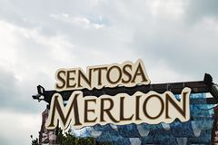 The sign of the Sentosa Merlion in Singapore. Sentosa Island, Singapore - January 18, 2018: The sign of the Sentosa Merlion near the Merlion Statue in Sentosa Royalty Free Stock Photography