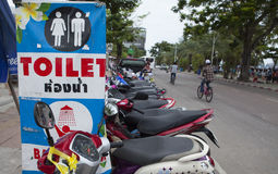 Sign of service for tourist and visitor on the street side of Pattaya beach Royalty Free Stock Image