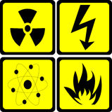 Sign set. Radioactive, high voltage, atom and warning fire sign isolated on white - vector Royalty Free Stock Photos