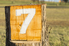Sign Seven 7 Golf Hole. Number wood log marker Royalty Free Stock Photography