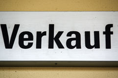 Sign or shield with - VERKAUF - in German, translation to English - SALE Royalty Free Stock Photos
