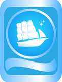 Sign with the ship. The sign of sailing ship on a blue background Stock Photos