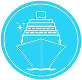 Sign with ship in round and star. Blue sea sign with ship in round and star Stock Photo