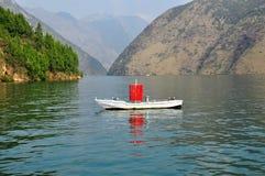 Sign Ship on Yangtze Small Three Gorges At Wushan China Royalty Free Stock Images