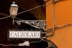 Sign shoemaker in Italian Stock Photo