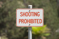 Sign shooting prohibited outdoor Royalty Free Stock Images