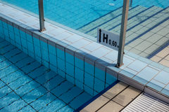 Sign showing the depth of the swimming pool Stock Images