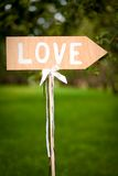 Sign showing direction to love. In the park Royalty Free Stock Images
