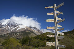 Sign showing the directions and hiking trails. Torres del Paine National Park, Chile, Patagonia Stock Photos