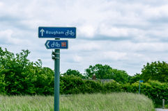 Sign showing directions, Rougham and cycle lane, Bury St Edmunds, UK Royalty Free Stock Image