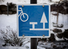 Sign showing resting place for cyclists Royalty Free Stock Photos