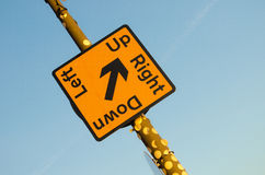 Sign showing which direction. To follow abstract Royalty Free Stock Photo