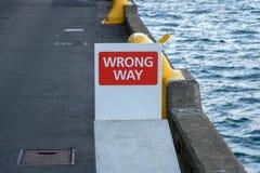 `WRONG WAY` Sign On City Wharf Stock Photo