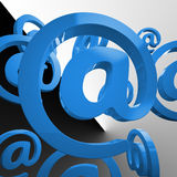 At Sign Shows Email Messaging Through Web Royalty Free Stock Image