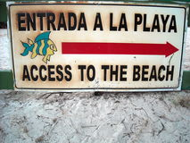 Sign shows the way to the beach. Sign for beach access in Vieques, Puerto Rico stock image