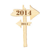 2014 sign. A signpost showing the way from 2013 to 2014. Rustic style stock illustration