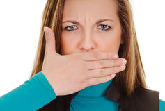 Woman shows sign of silence Royalty Free Stock Photography