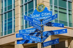 Sign of Sister Cities of Sacramento. Afternoon view of sign of Sister Cities of Sacramento, California Royalty Free Stock Images