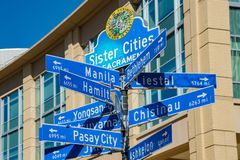Sign of Sister Cities of Sacramento. Afternoon view of sign of Sister Cities of Sacramento, California Stock Images