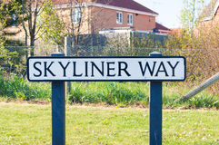 Sign for Skyliner Way in Bury St Edmunds, UK Royalty Free Stock Images