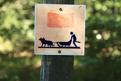Sign for sled dogs. Sign on track for sled dogs Stock Photo
