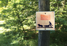 Sign for sled dogs. Sign on track for sled dogs Stock Images