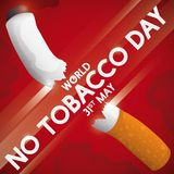 Crossed Sign Slicing a Cigarette for No Tobacco Day Celebration, Vector Illustration. Sign slicing a cigarette in the middle, promoting the fight against tobacco Royalty Free Stock Image