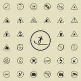 sign slippery road icon. Warning signs icons universal set for web and mobile vector illustration
