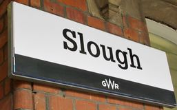 Slough Station. Sign at Slough Station, U.K stock photography