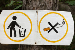Sign Smoking and littering are prohibited. Stock Image
