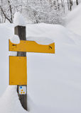 Sign in the snow Stock Photography