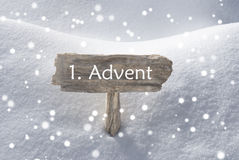 Sign Snow Snowflakes 1 Advent Means Christmas Time Royalty Free Stock Image