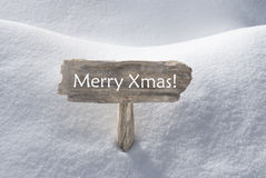 Sign With Snow And Text Merry Xmas Stock Images