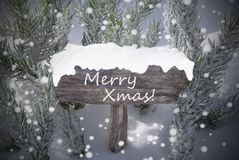Sign Snowflakes Fir Tree Text Merry Xmas Stock Images