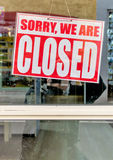 Sign sorry we are closed. Sorry we are closed sign, symbol for retail, bankruptcy, crisis, end Stock Photography