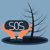 The sign SOS in the hands. Puddle of oil and dry wood. Environmental disaster, the pollution by oil products stock illustration