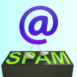 At Sign Spam Shows Malicious Electronic Junk Mail Stock Images