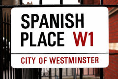 Sign Spanish Place in London, GB. Sign Spanish Place City of Westminster in London, GB Stock Photography