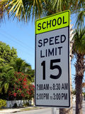 Sign Speed Limit in front of School. Speed limit sign close to school Stock Photos
