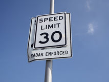 Sign of speed limit and radar enforced Royalty Free Stock Photography