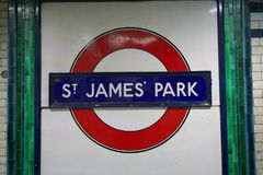 Sign of St. James`s Park station, London royalty free stock image