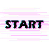 Sign start with distorted glitch effect. Stock Photo