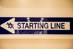 Sign at Starting Line Stock Images