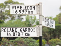 Sign stating distance from sign to Roland Garros, Flushing Meadow and Wimbledon Stock Photos