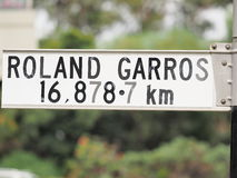 Sign stating distance from sign to Roland Garros in Paris Stock Photo