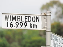 Sign stating distance from sign to Wimbledon Stock Images